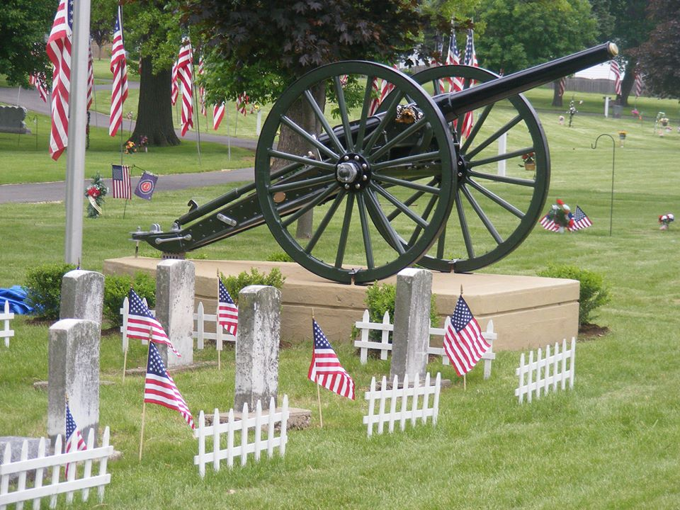 Historic civil war era cannon in Montgomery IL riverside cemetery
